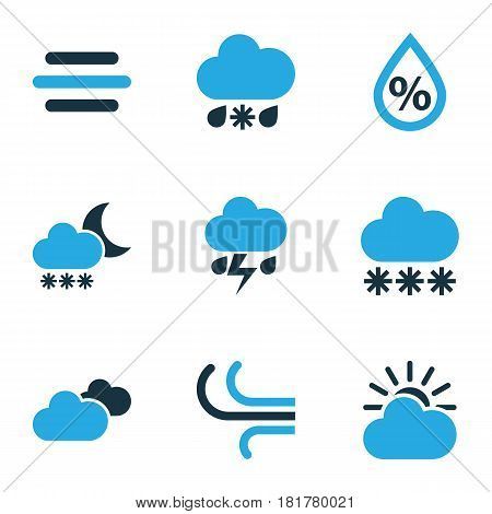 Meteorology Colored Icons Set. Collection Of Humidity, Wind, Overcast And Other Elements. Also Includes Symbols Such As Blizzard, Humidity, Cloudy.
