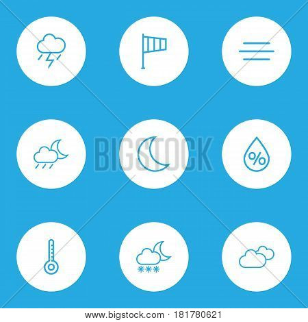 Climate Outlines Set. Collection Of Windsock, Drop, Rainstorm And Other Elements. Also Includes Symbols Such As Line, Thermostat, Thunderstorm.