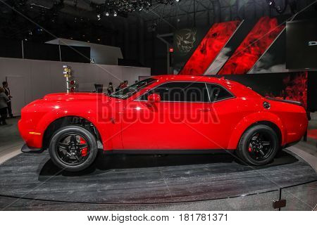 NEW YORK- APRIL 12: 2018 Dodge Challenger SRT Demon  shown at the New York International Auto Show 2017, at the Jacob Javits Center on April 12, 2017 in New York City