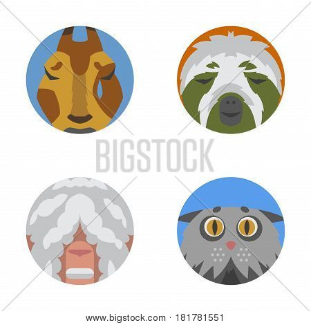 Cute animals emotions icons isolated fun set face happy character emoji comic adorable pet and expression smile collection wild avatar vector illustration. Beautiful surprise tears laughter mammals.