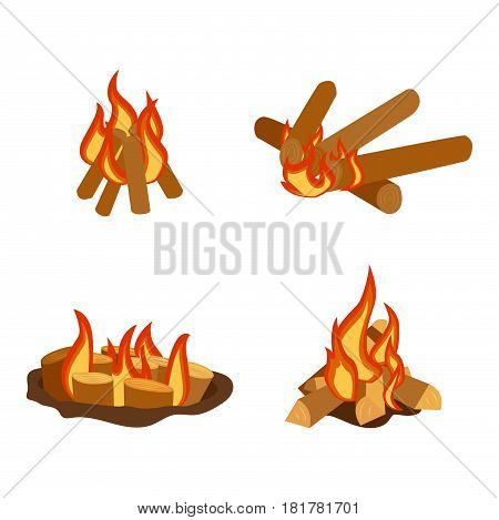 Isolated illustration of campfire logs burning bonfire and firewood stack vector wood explosion glowing nature blazing power. Flammable yellow glowing sparks warm inferno fireplace.
