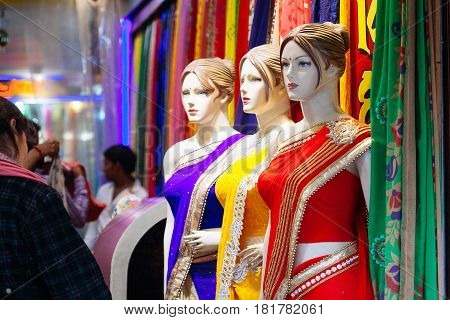 Varanasi, India-january 25: Mannequins Dressed In Fashion Sari In Front Of Retail Clothes Store On J