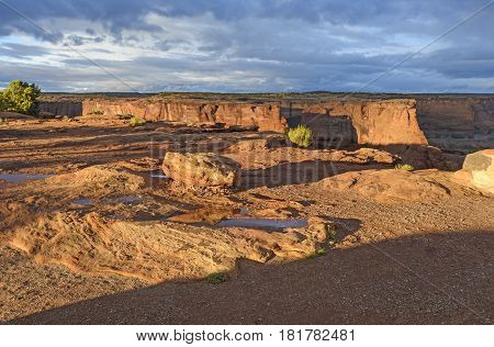 Long Shadows in Red Rock Country in Canyon de Chelly in Arizona