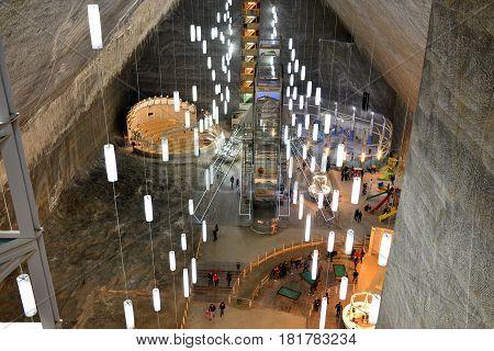 TURDA ROMANIA - 04.04.2017: salt mine wood and neon light pavilion