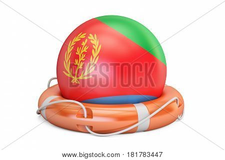 Lifebelt with Eritrea flag safe help and protect concept. 3D rendering