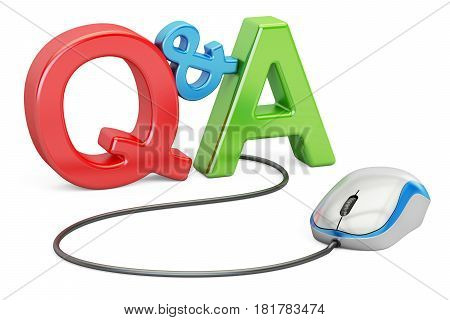 Q&A concept with computer mouse 3D rendering