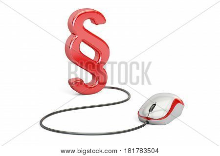 section symbol with computer mouse 3D rendering isolated on white background