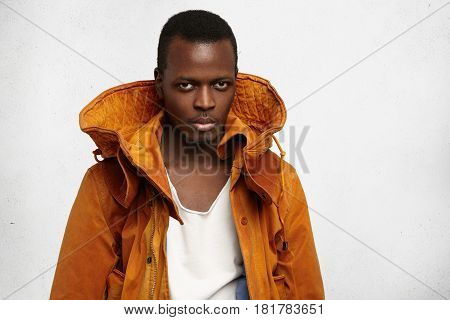 People, Style And Fashion Concept. Studio Shot Of Handsome Serious Young African American Male Model