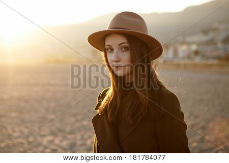 Outdoor Profile Portrait Of Beautiful And Pretty, Charming, Charismatic, Romantic Young Woman Travel