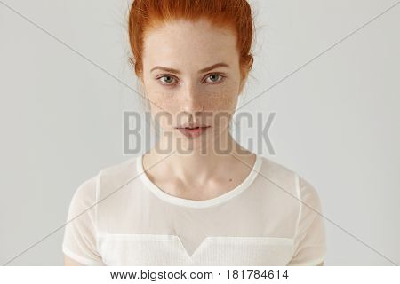 People And Lifestyle. Beauty And Fashion. Portrait Of Confident Young Ginger Woman With Pretty Face