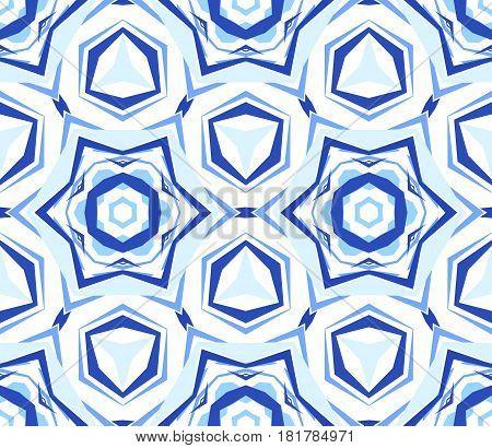 Kaleidoscope Pattern. Seamless blue background. Mandala geometric graphic print. Psychedelic star design element for wallpaper, scrapbooking, fabric. Flower vector illustration