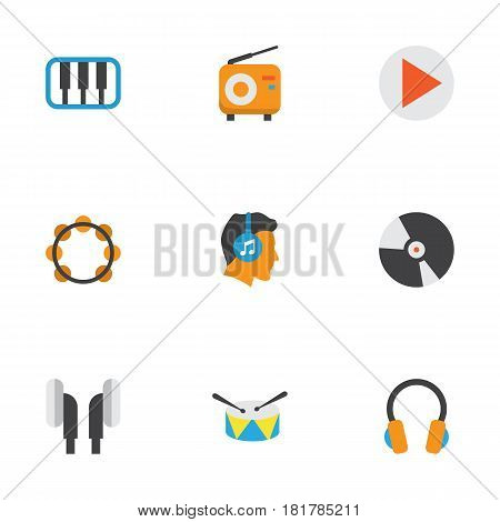Music Flat Icons Set. Collection Of Broadcasting, Ear Muffs, Pianoforte And Other Elements. Also Includes Symbols Such As Percussion, Male, Tambourine.