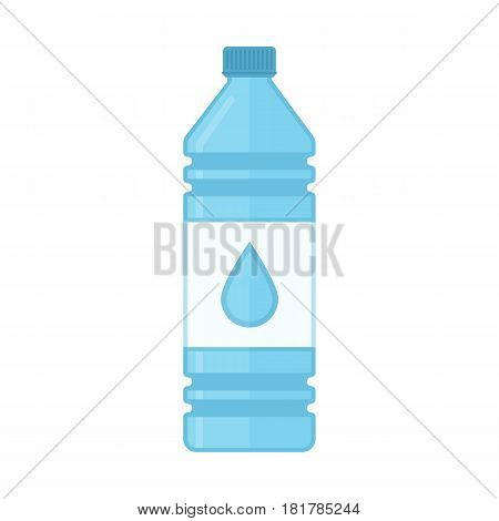 Bottle of water icon in flat style. Plastic bottle of fresh drinking water isolated on blue background. Vector illustration. EPS 10.