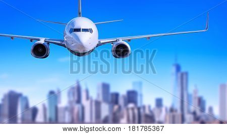 airplane against the skyline of new york