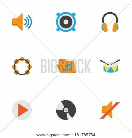 Music Flat Icons Set. Collection Of Rhythm, Quiet, Loudspeaker And Other Elements. Also Includes Symbols Such As Quiet, Dj, Megaphone.