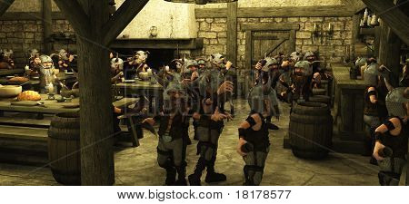 Toon Viking Dwarf Horde in the Tavern