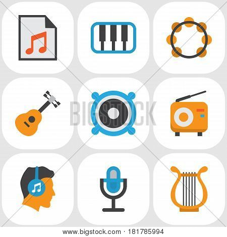 Multimedia Flat Icons Set. Collection Of Rhythm, Pianoforte, Acoustic And Other Elements. Also Includes Symbols Such As Samba, Sonata, Listen.