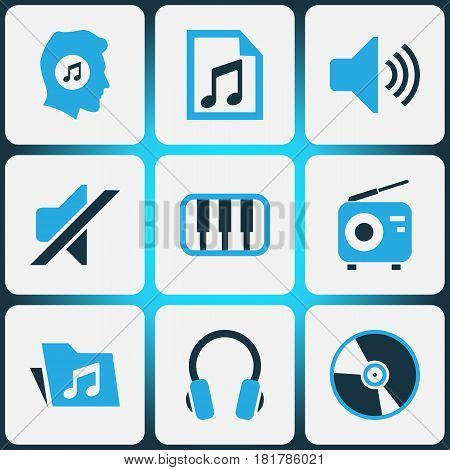 Music Colored Icons Set. Collection Of Music Lover, Headset, Folder And Other Elements. Also Includes Symbols Such As Silent, Vinyl, Lover.