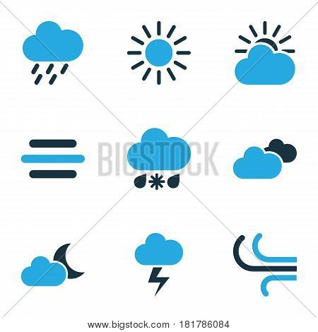 Climate Colored Icons Set. Collection Of Wind, Sunny, Cloudy Sky And Other Elements. Also Includes Symbols Such As Rainstorm, Bolt, Wind.