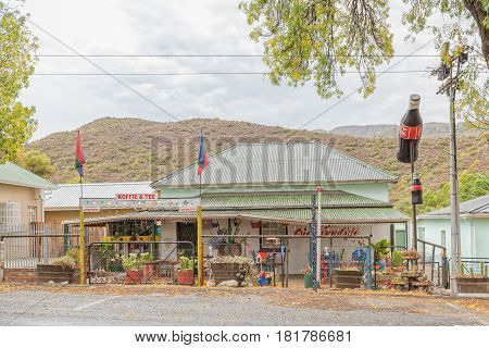 DE RUST SOUTH AFRICA - MARCH 23 2017: A road stall in De Rust a village in the Western Cape Province of South Africa