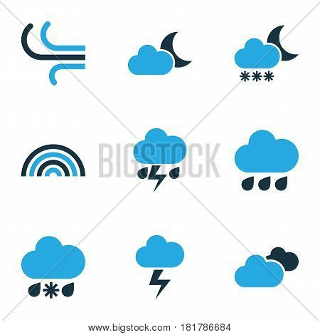 Weather Colored Icons Set. Collection Of Rainfall, Lightning, Cloudy Sky And Other Elements. Also Includes Symbols Such As Rainfall, Blizzard, Bolt.
