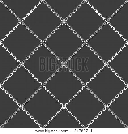 Black and white Chain seamless background. Metal chain-link fencing pattern. Vector illustration. EPS 10.