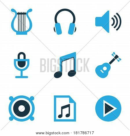 Multimedia Colored Icons Set. Collection Of Guitar, Speaker, Harp And Other Elements. Also Includes Symbols Such As Microphone, Sound, Musical.