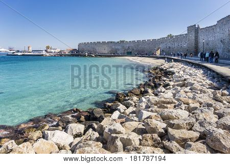 17TH FEBRUARY 2017, RHODES, GREECE - Port in the ancient city of Rhodes Greece
