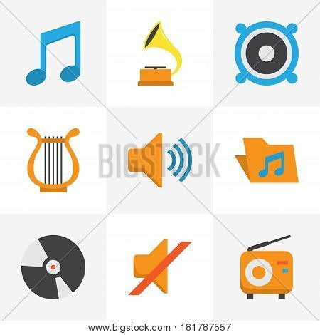 Music Flat Icons Set. Collection Of Portfolio, Quiet, Audio And Other Elements. Also Includes Symbols Such As Note, Audio, Mute.