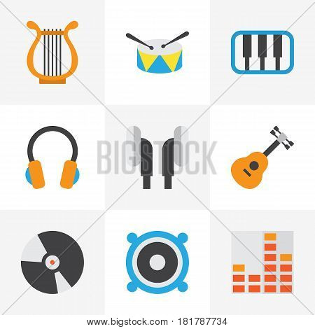 Audio Flat Icons Set. Collection Of Ear Muffs, Loudspeaker, Pianoforte And Other Elements. Also Includes Symbols Such As Pianoforte, Equalizer, Guitar.