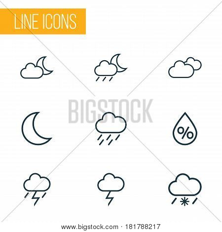 Climate Outlines Set. Collection Of Overcast, Drizzle, Night And Other Elements. Also Includes Symbols Such As Humidity, Percent, Overcast.