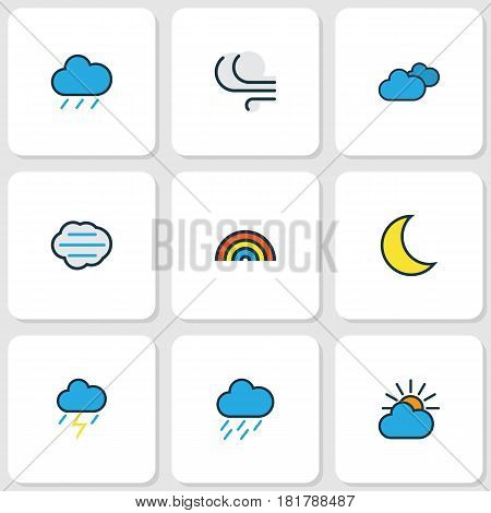 Nature Colored Outlines Set. Collection Of Hazy, Hail, Thunderstroke And Other Elements. Also Includes Symbols Such As Hazy, Lunar, Rainbow.