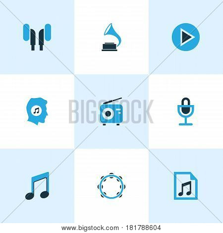 Multimedia Colored Icons Set. Collection Of Play, Note, Headphone And Other Elements. Also Includes Symbols Such As Note, Phonograph, Tambourine.