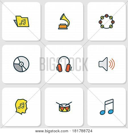 Audio Colored Outlines Set. Collection Of Volume, Barrel, Gramophone And Other Elements. Also Includes Symbols Such As Template, Music, Level.