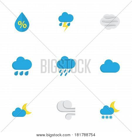 Nature Flat Icons Set. Collection Of Drop, Crescent, Shower And Other Elements. Also Includes Symbols Such As Frosty, Cloud, Cloudy.