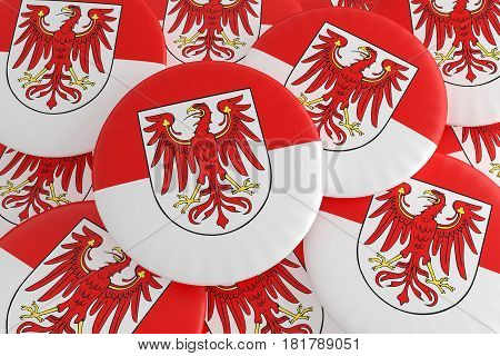 German States Badges: Pile of Brandenburg Flag Buttons 3d illustration