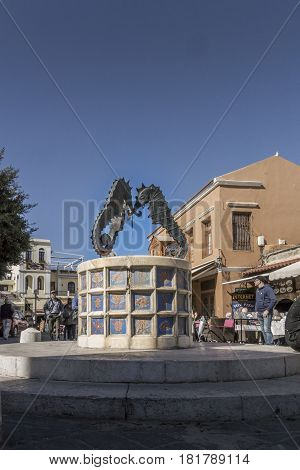 17TH FEBRUARY 2017, RHODES, GREECE - Water fountain in the anceint city of Rhodes Greece