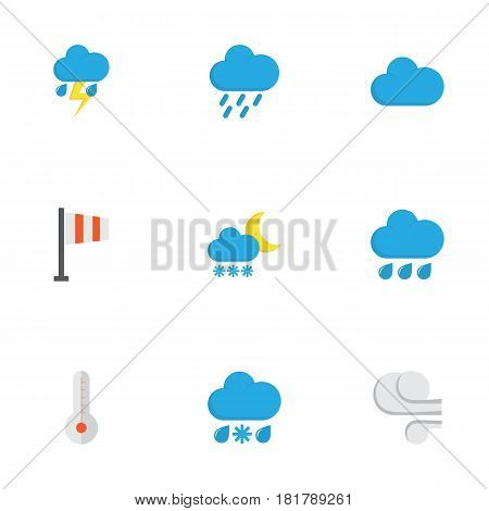 Climate Flat Icons Set. Collection Of Lightning, Temperature, Drizzles And Other Elements. Also Includes Symbols Such As Lightning, Blizzard, Rain.