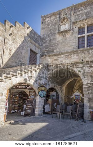 17TH FEBRUARY 2017, RHODES, GREECE - Medieval building in the old town of Rhodes Greece