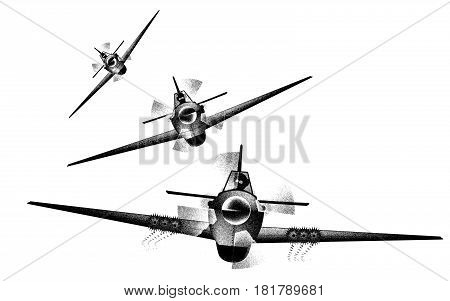 A trio of fighter aircraft diving and firing the wing cannons