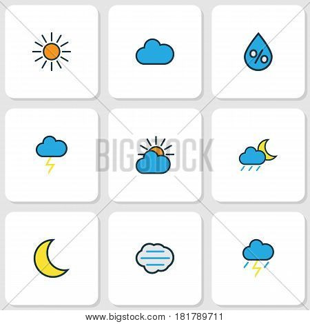 Nature Colored Outlines Set. Collection Of Cloudburst, Tempest, Lunar And Other Elements. Also Includes Symbols Such As Rain, Sunlight, Thunderstroke.