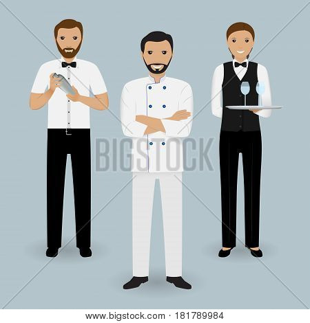 Chef cook waitress in uniform and barman standing together. Restaurant people characters. Vector illustration.