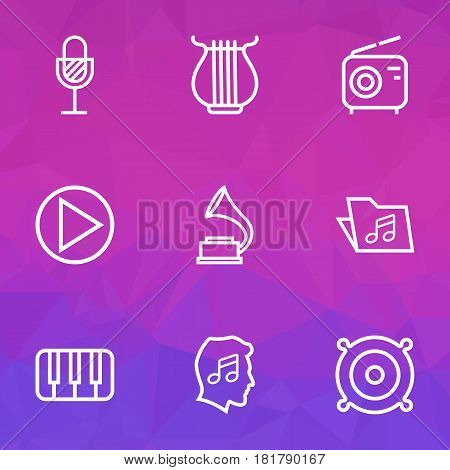 Music Outlines Set. Collection Of Cover, Circle, Keys And Other Elements. Also Includes Symbols Such As Sounds, Phonograph, Gramophone.