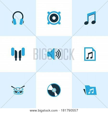 Multimedia Colored Icons Set. Collection Of Folder, Speaker, Headset And Other Elements. Also Includes Symbols Such As Speaker, Drum, Dossier.