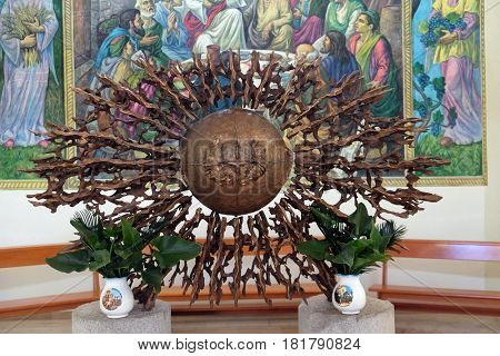 VAU I DEJES, ALBANIA - SEPTEMBER 30: The tabernacle on the main altar of the Mother Teresa cathedral in Vau i Dejes, Albania on September 30, 2016.