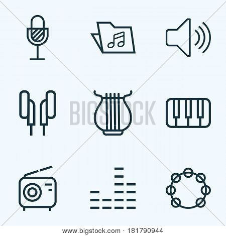 Music Outlines Set. Collection Of Amplifier, Keys, Wireless And Other Elements. Also Includes Symbols Such As Music, Earphones, Tambourine.