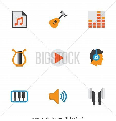 Multimedia Flat Icons Set. Collection Of Controlling, Male, Earpiece And Other Elements. Also Includes Symbols Such As Begin, Sonata, Earmuff.