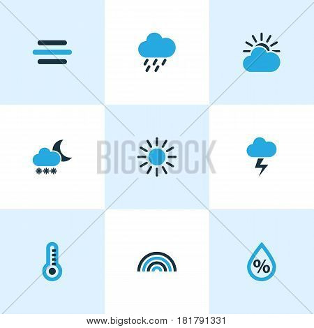 Nature Colored Icons Set. Collection Of Blizzard, Rainstorm, Thermometer And Other Elements. Also Includes Symbols Such As Lightning, Summer, Rain.