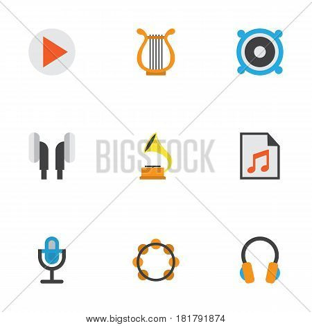Audio Flat Icons Set. Collection Of Button, Loudspeaker, Ear Muffs And Other Elements. Also Includes Symbols Such As Samba, Rhythm, Gramophone.