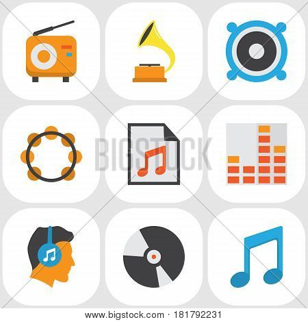 Audio Flat Icons Set. Collection Of Male, Media, Shellac And Other Elements. Also Includes Symbols Such As Note, Gramophone, Media.